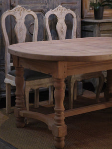 French oak oval dining table extendable