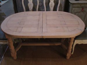 French oak oval dining table extendable mid century