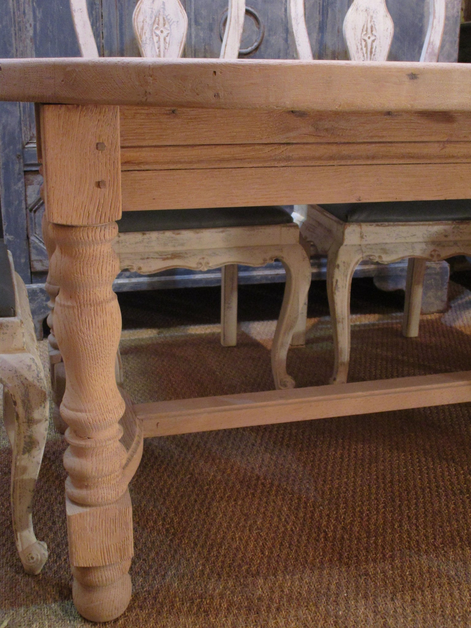 Turned leg detail - French oak oval dining table extendable mid century