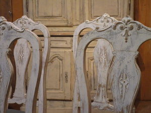 Set of four oak Chippendale dining chairs patina