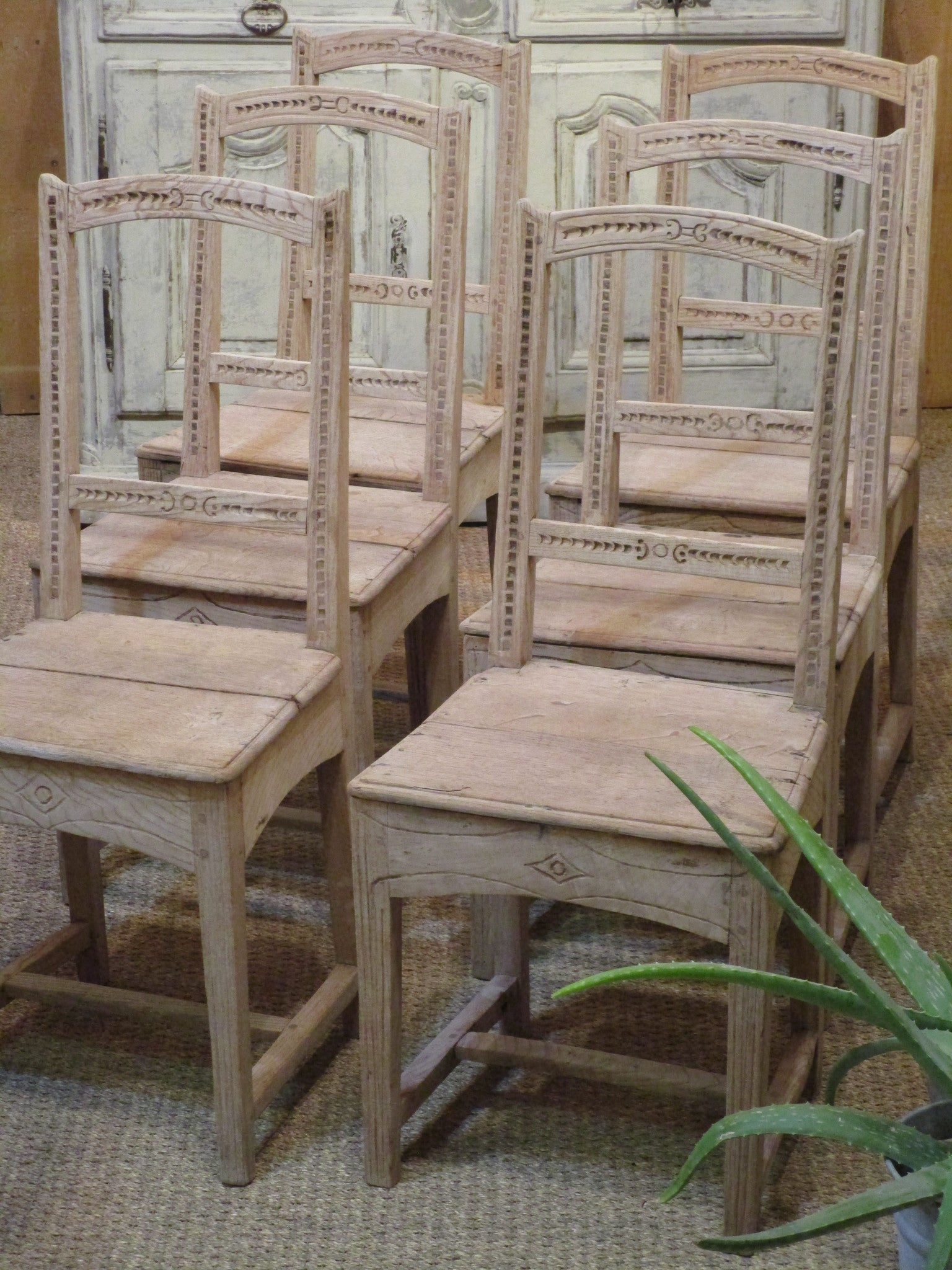 Set of six 18th century French oak rustic chairs farmhouse decor