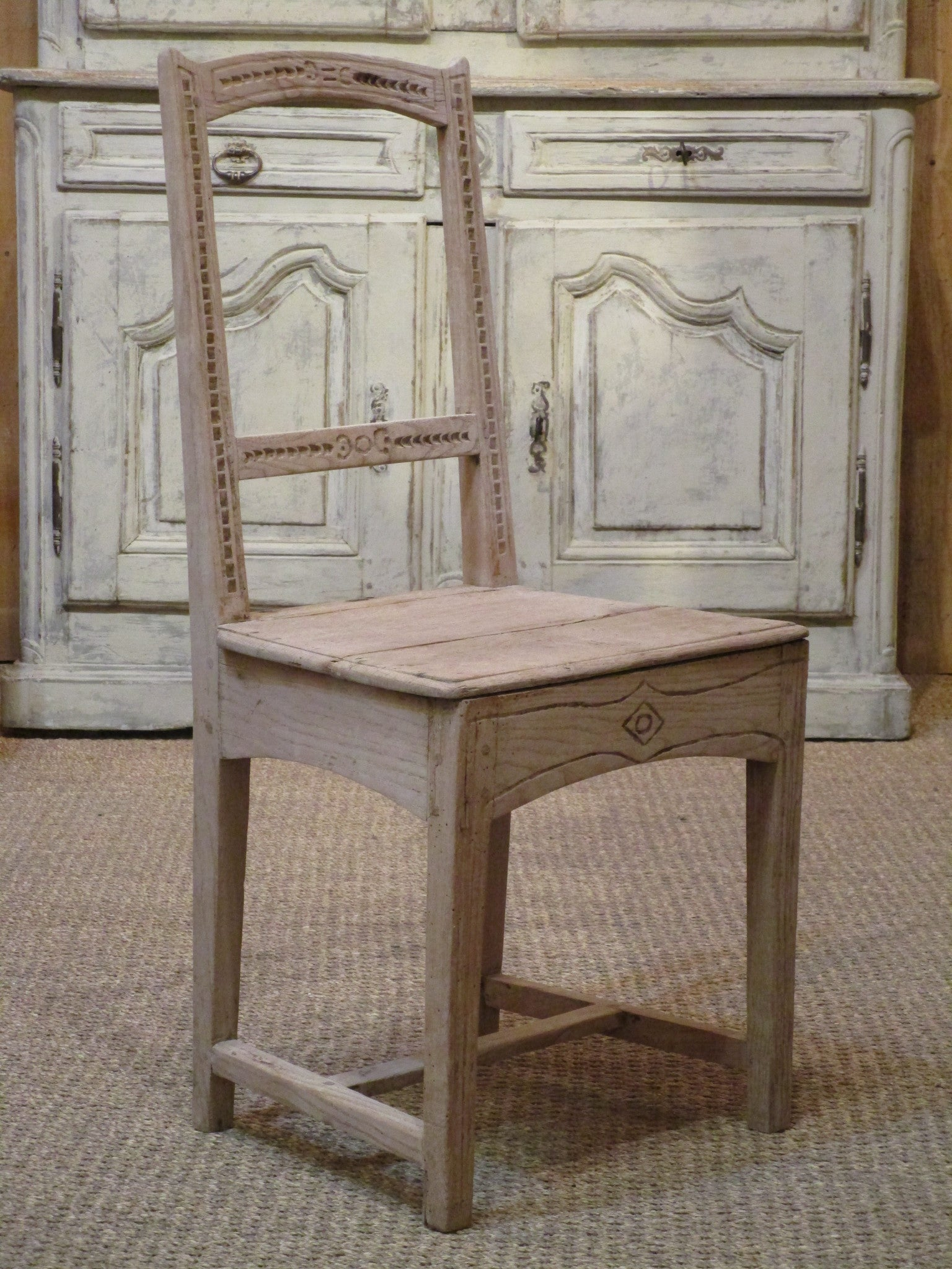 Detail Set of six 18th century French oak rustic chairs farmhouse decor