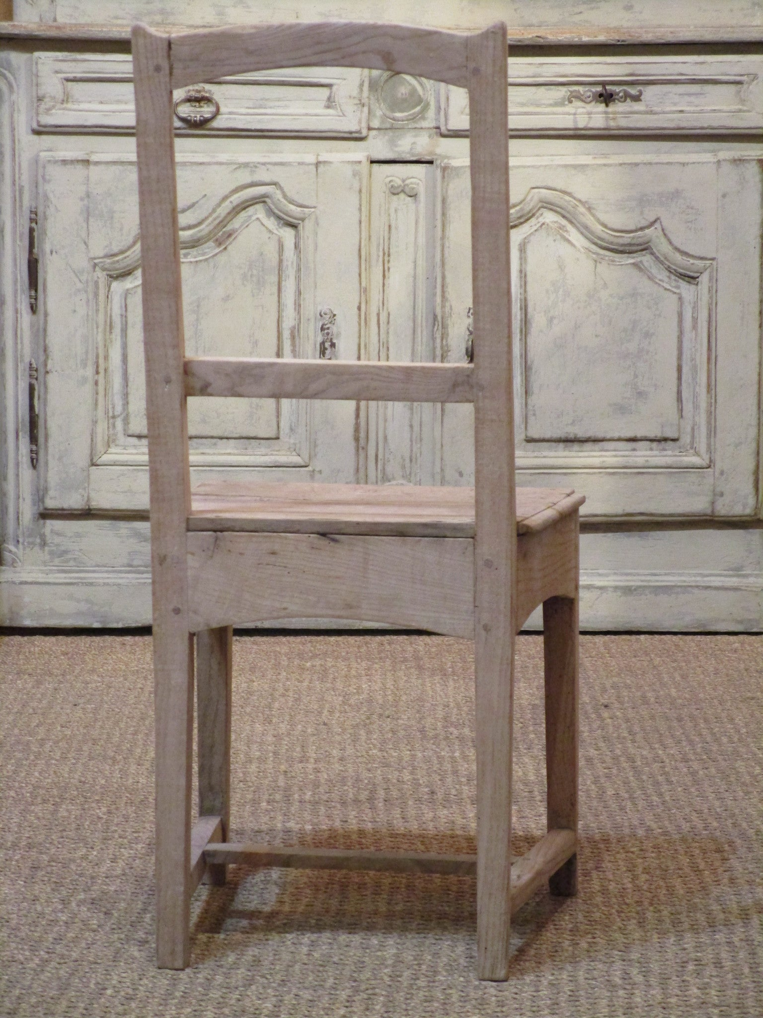 Back of chair - Set of six 18th century French oak rustic chairs farmhouse decor
