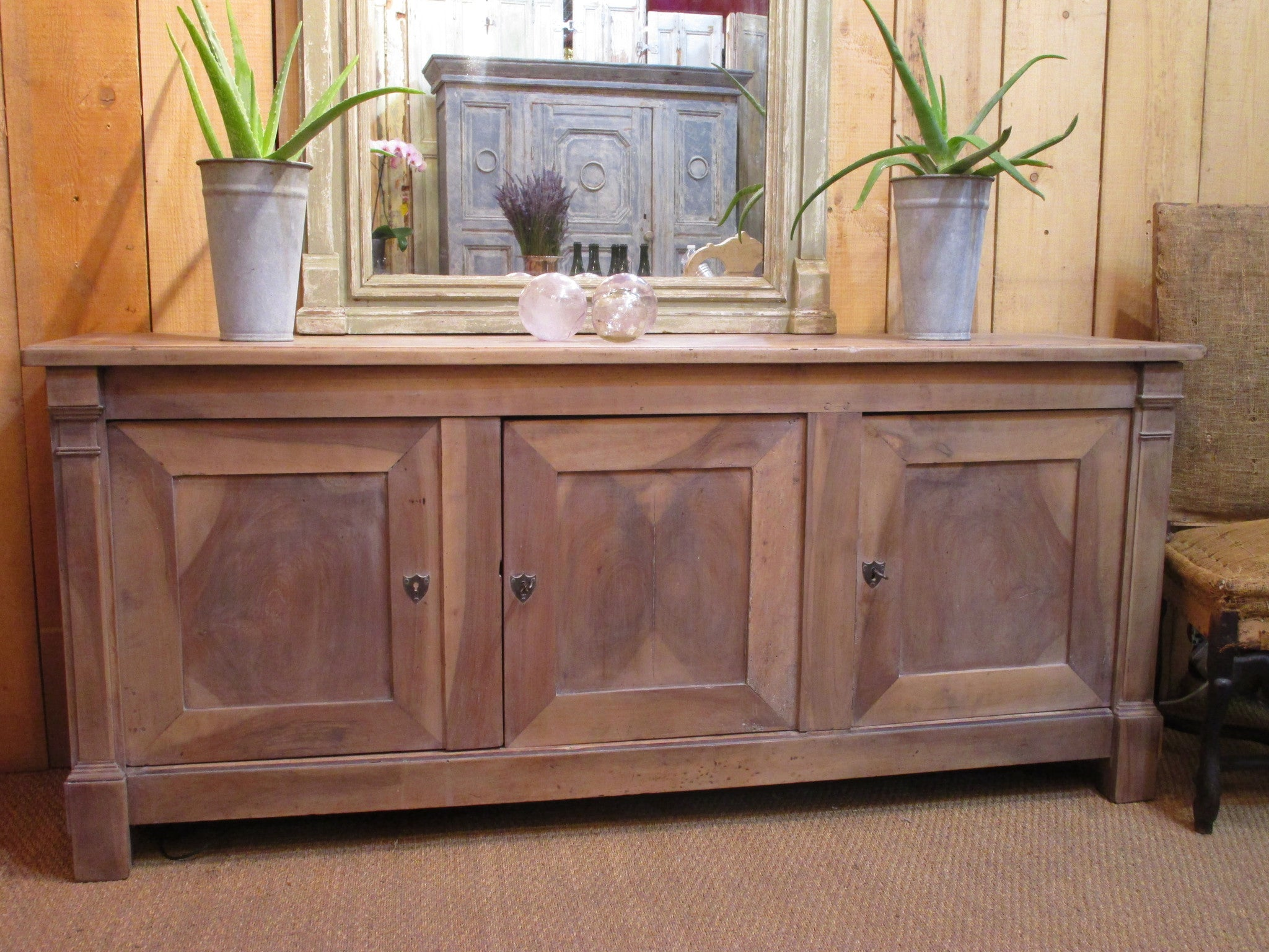 Original French directoire walnut buffet cabinet