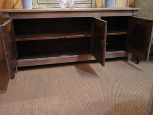 Shelving detail - Original French directoire walnut buffet cabinet