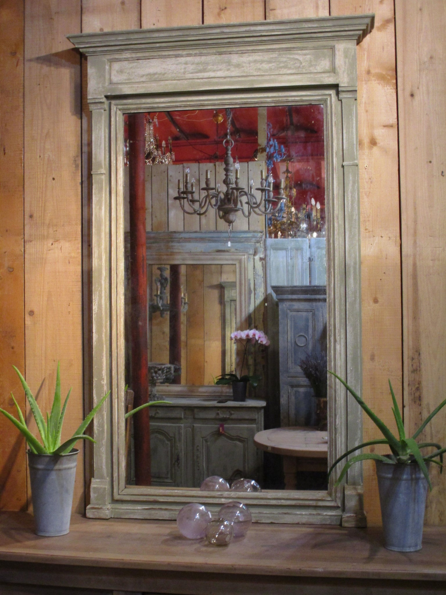French Napoleon III mantel manteau mirror rectangular rustic patina modern farmhouse