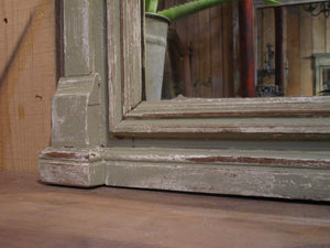 Frame detail at base - French Napoleon III mantel manteau mirror rectangular rustic patina modern farmhouse