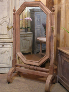 French oak modesty mirror with bronze candlesticks