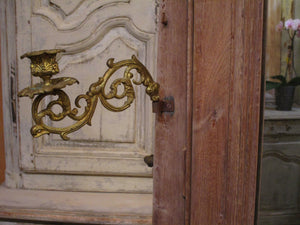 Bronze candlestick detail - French oak modesty mirror with
