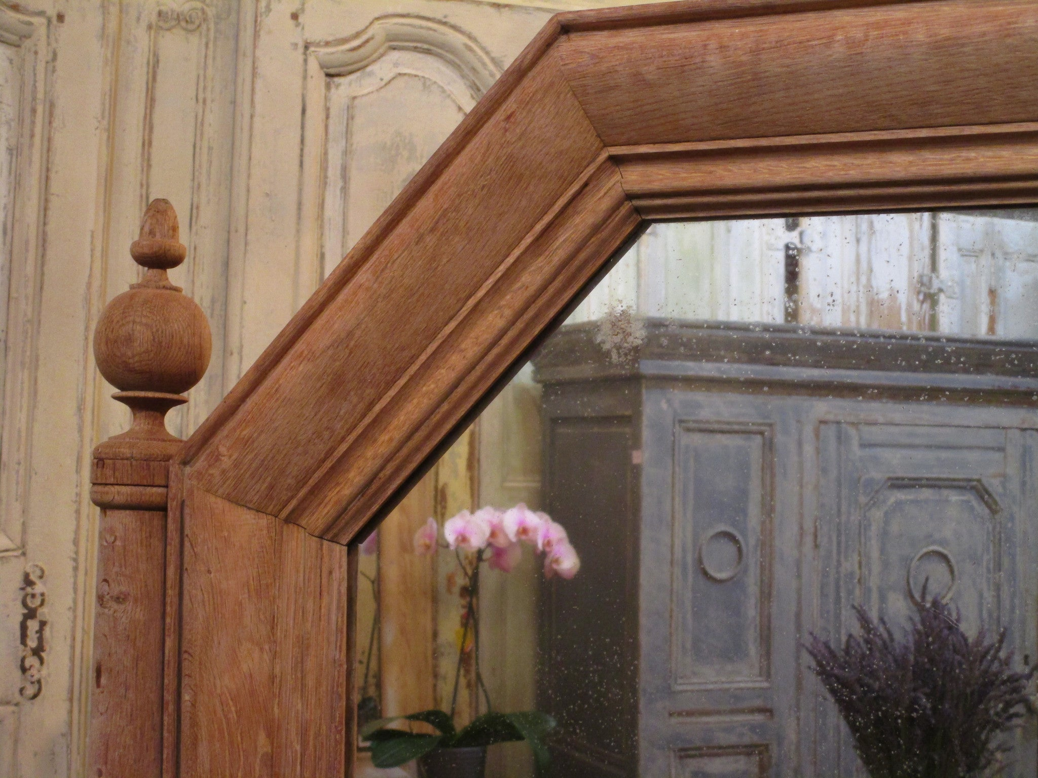 Frame detail - French oak modesty mirror with bronze candlesticks