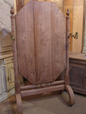 Back detail - French oak pivoting mirror on stand