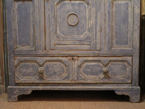 Early 18th century french oak voyage armoire blue