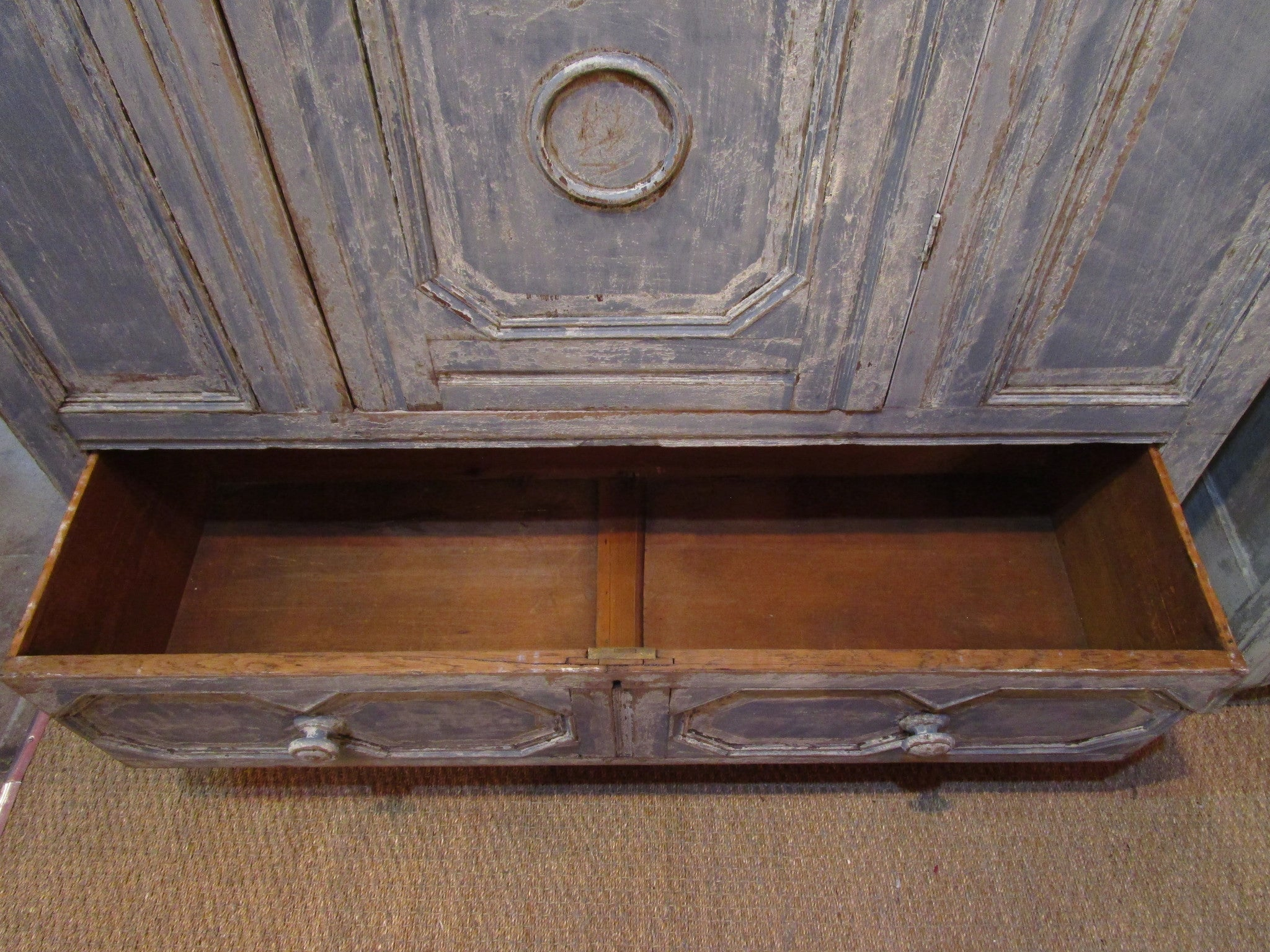 Early 18th century french oak voyage armoire America