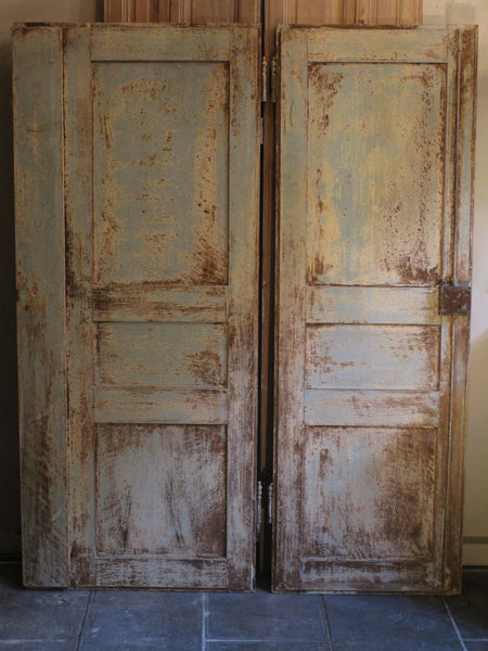 Pair of Louis XVI French doors with original paint and hardware
