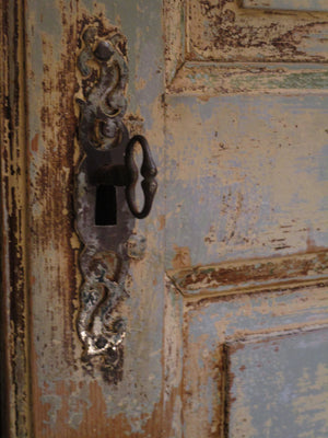 Antique key detail - Pair of Louis XVI French doors with original paint and hardware