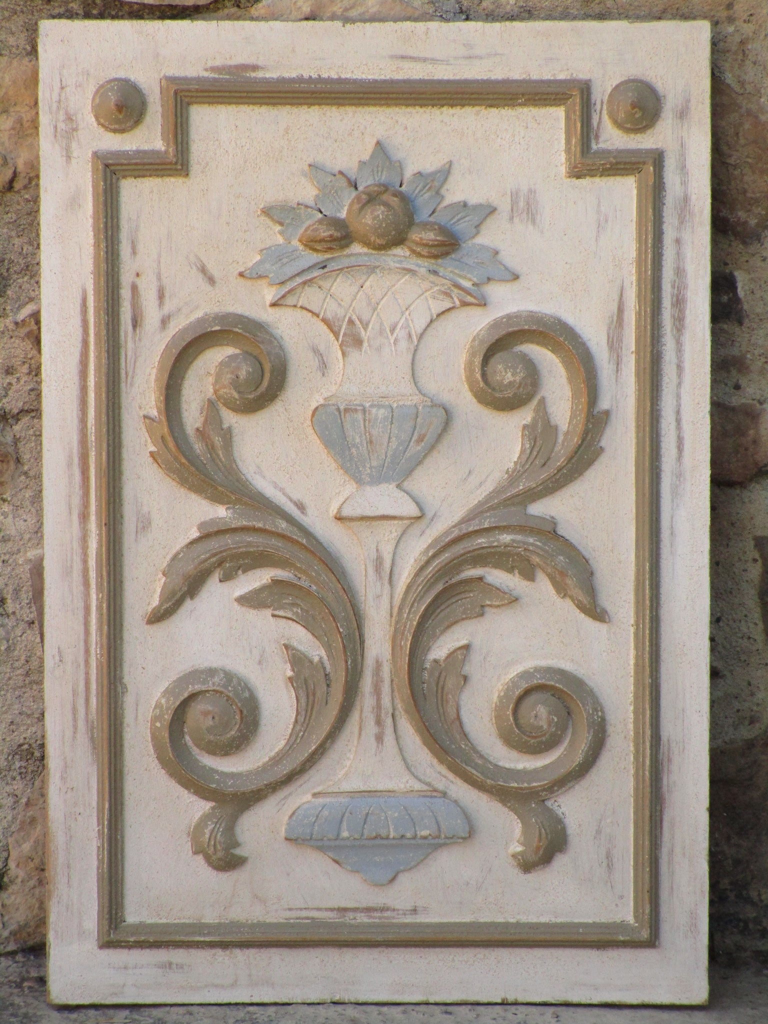 Neutral French decorative panel with floral motifs - farmhouse decor