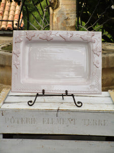 Rectangular platter with vine leaves french bespoke pottery