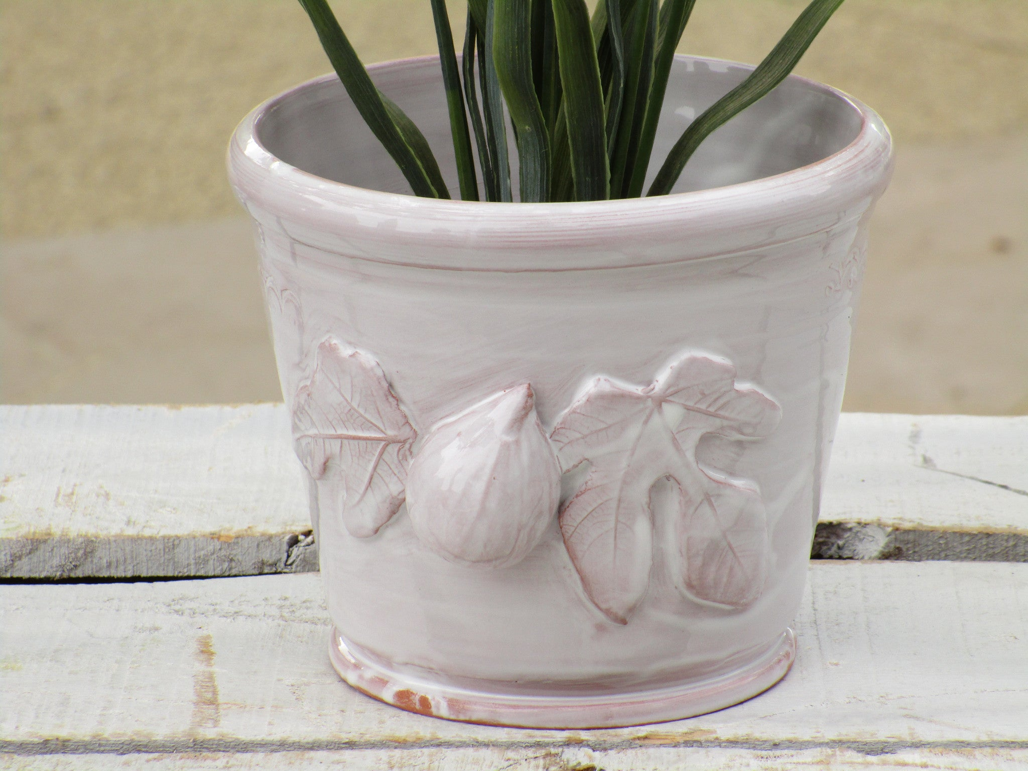 glazed white fig detail pot plant holder