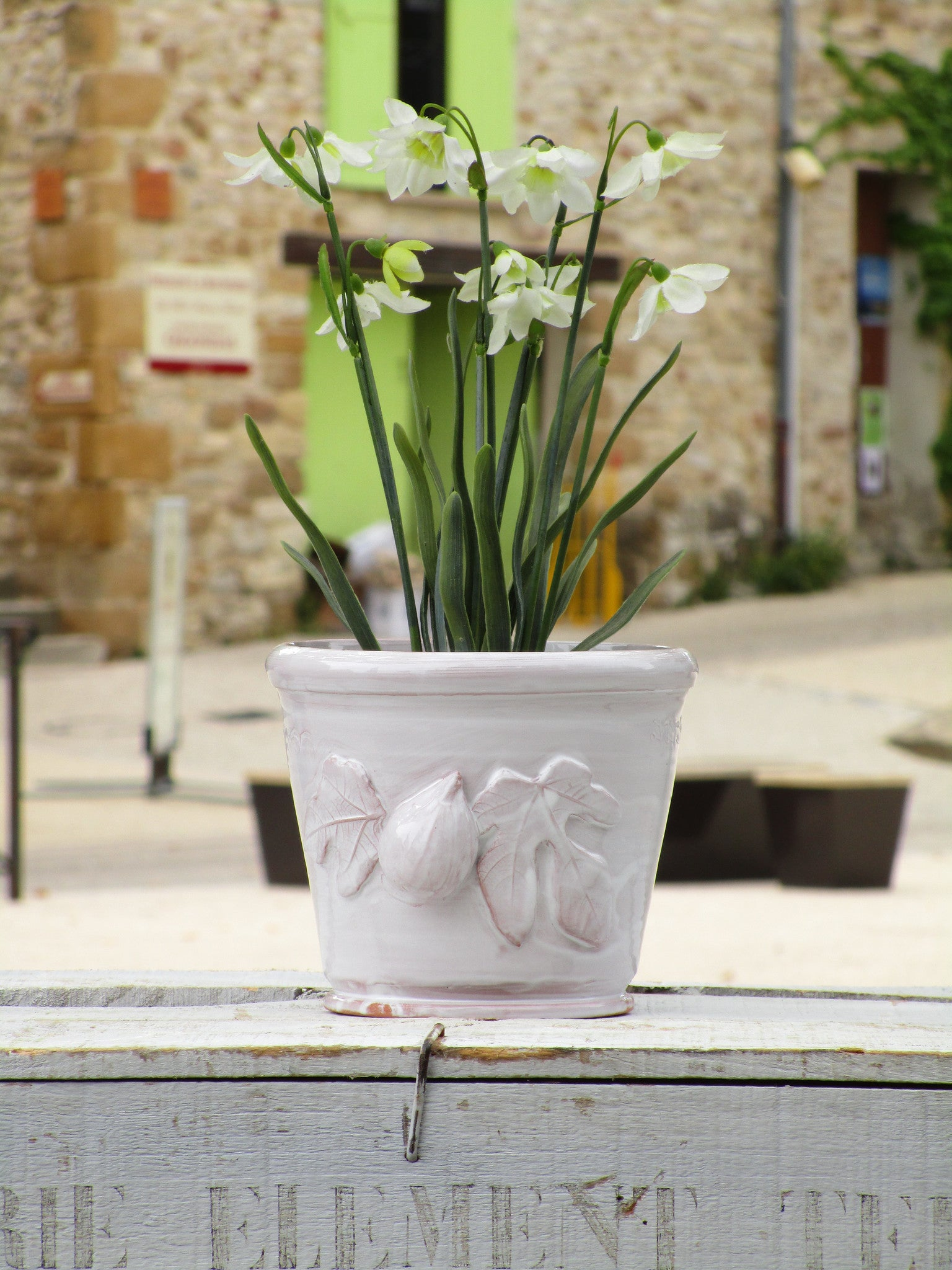 french pot plant holder ceramic white pottery artisan