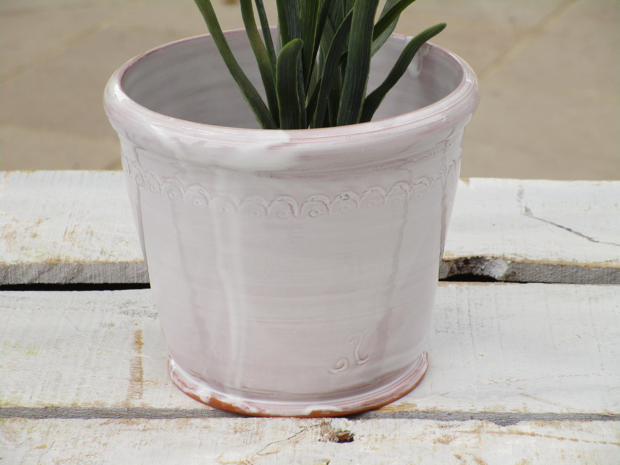 back of ceramic bespoke pot plant holder white glazed