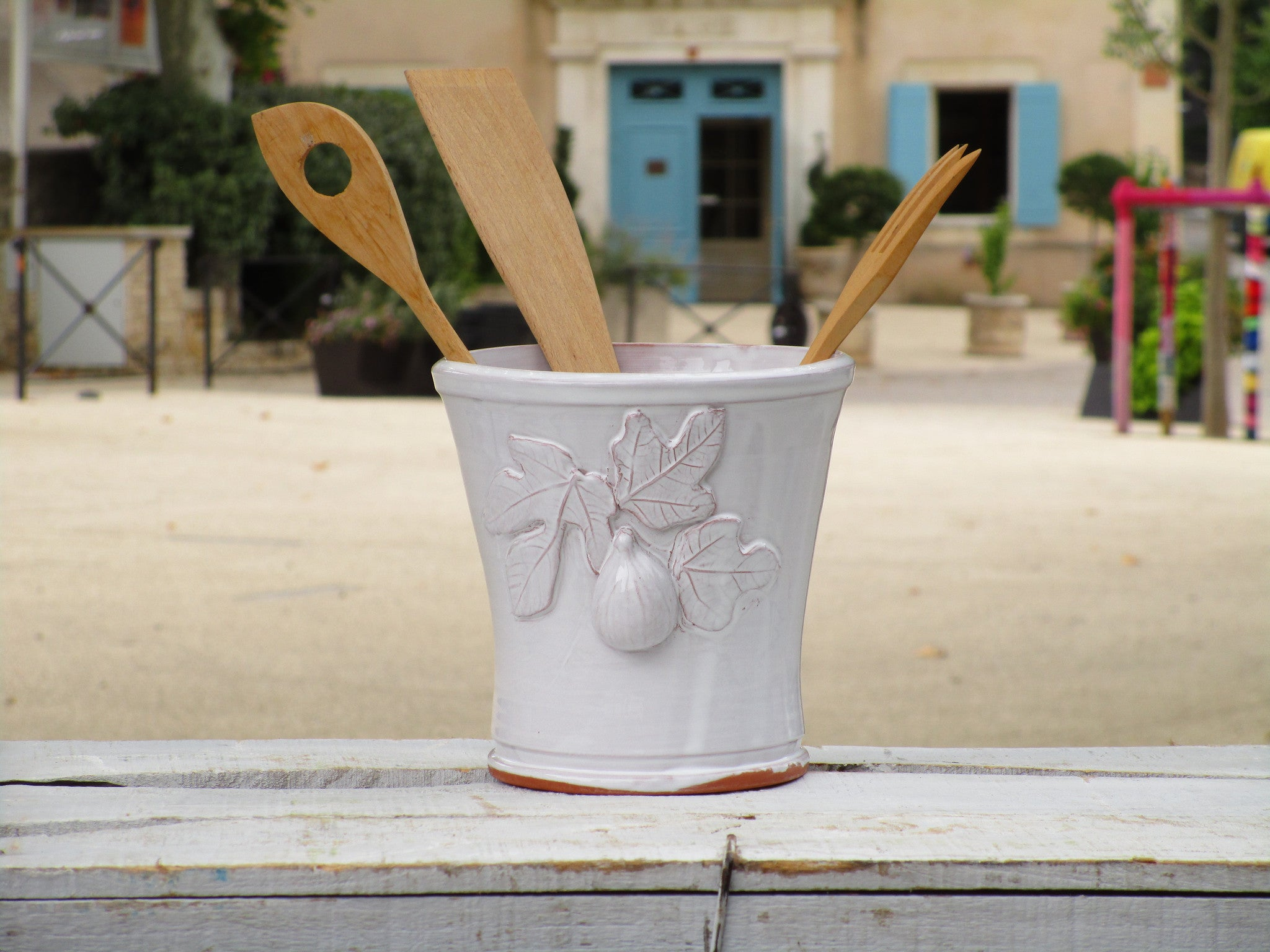 Bespoke french pottery kitchen utensil container ceramic present