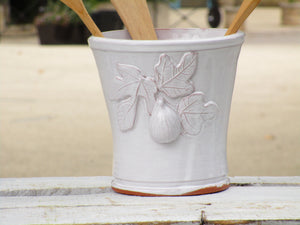 Fig leaf detail - Bespoke french pottery kitchen utensil container ceramic