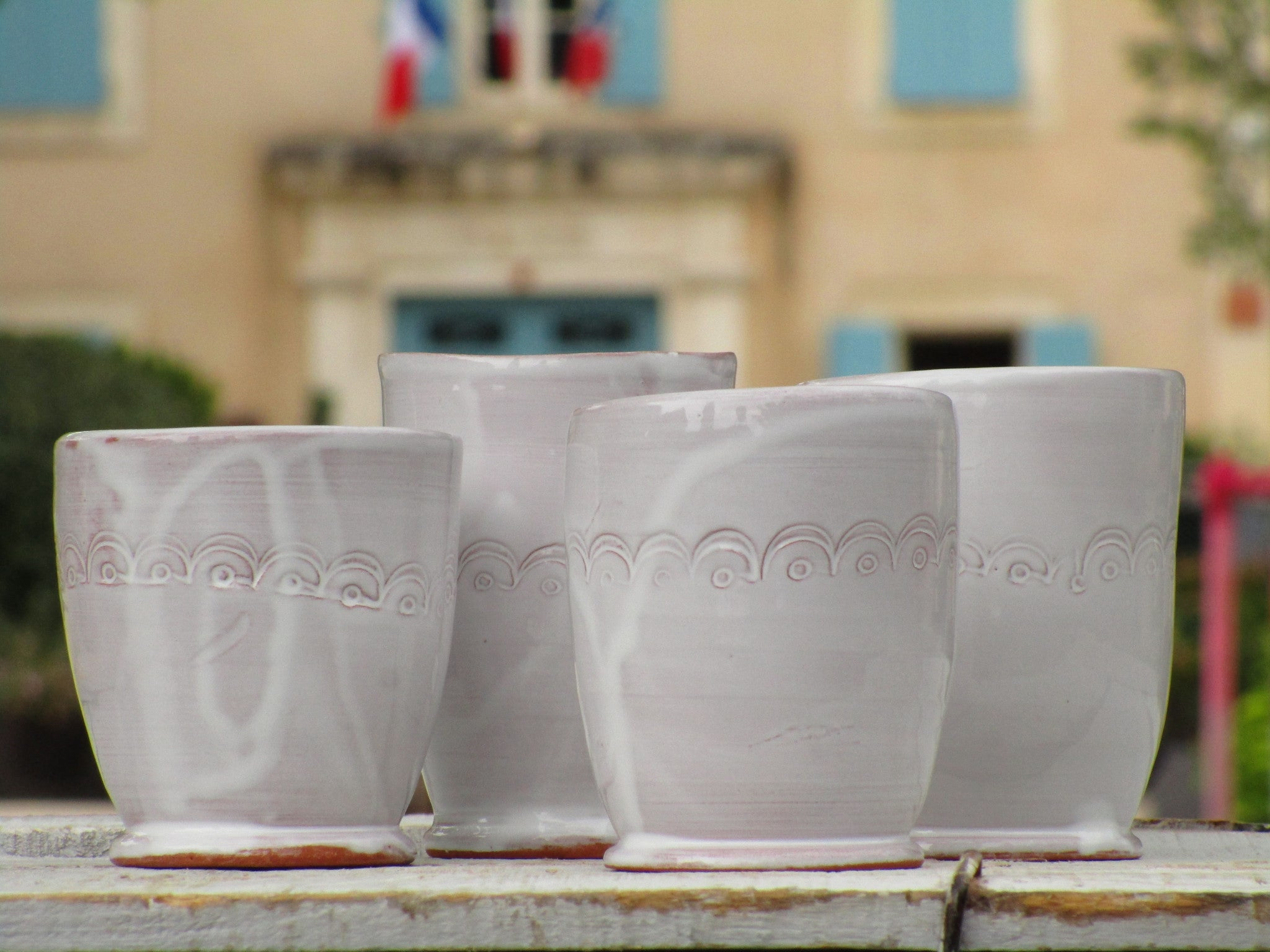front view four french bespoke tea cups handmade in provence
