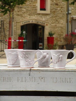 four glazed mugs bespoke french heart pinecone acorn vine