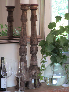 Pair of large carved candlesticks 30""