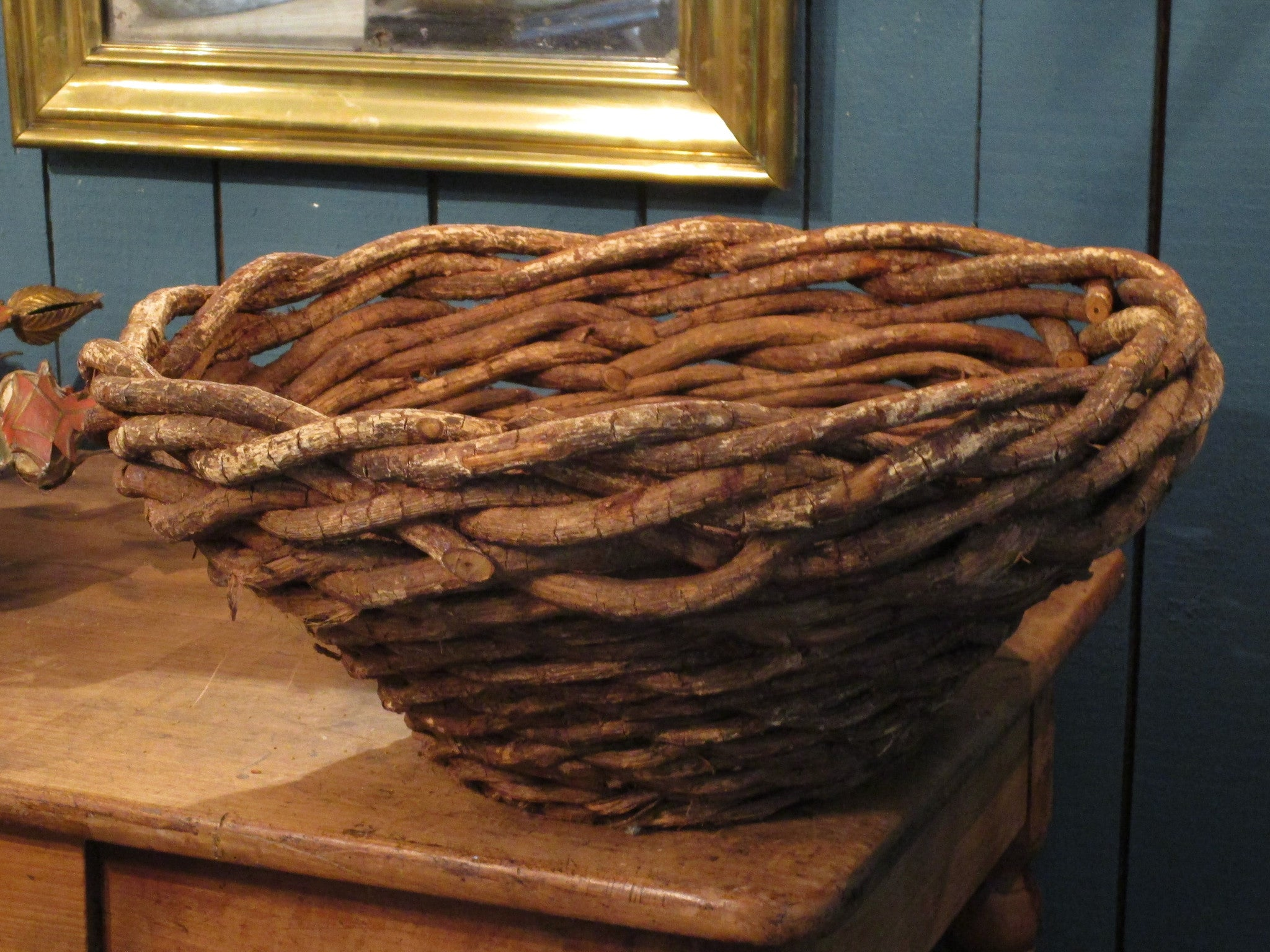 detail pair of mid century french woven rustic modern farmhouse baskets