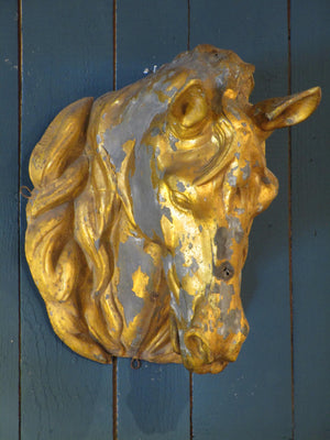side wall mounted 1930 zinc gold horse mount