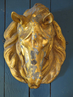 front french zinc gold horse head from butcher