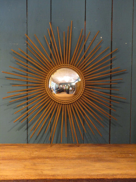mid century gold french sunburst mirror