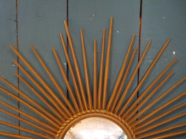 gold detail french round sunburst mirror