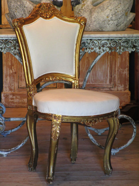 pair french louis xv upholstered white chairs
