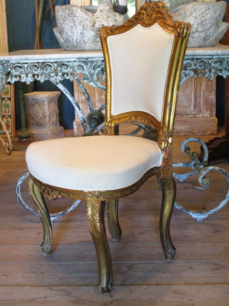 french gilt wood carved chair