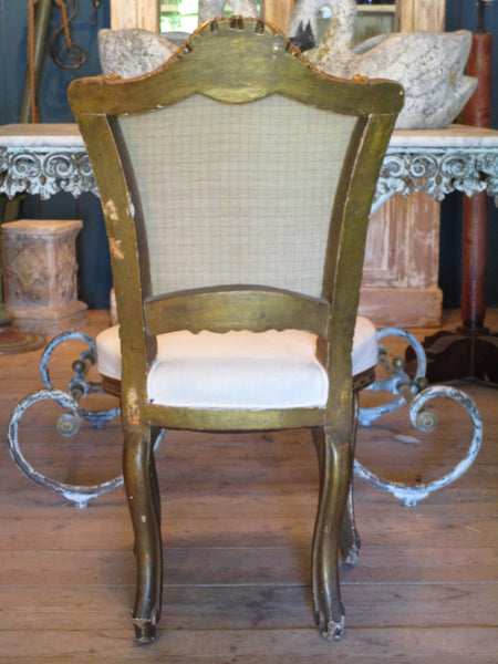 back of french louis xv upholstered white chair pair