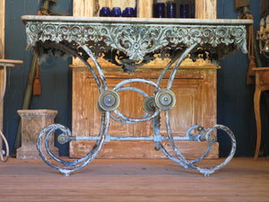 cast iron decorative legs marble top butchers table