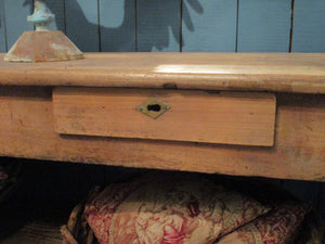 cashier drawer detail rustic drapers table