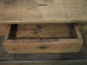 cashier drawer detail rustic farmhouse kitchen island table