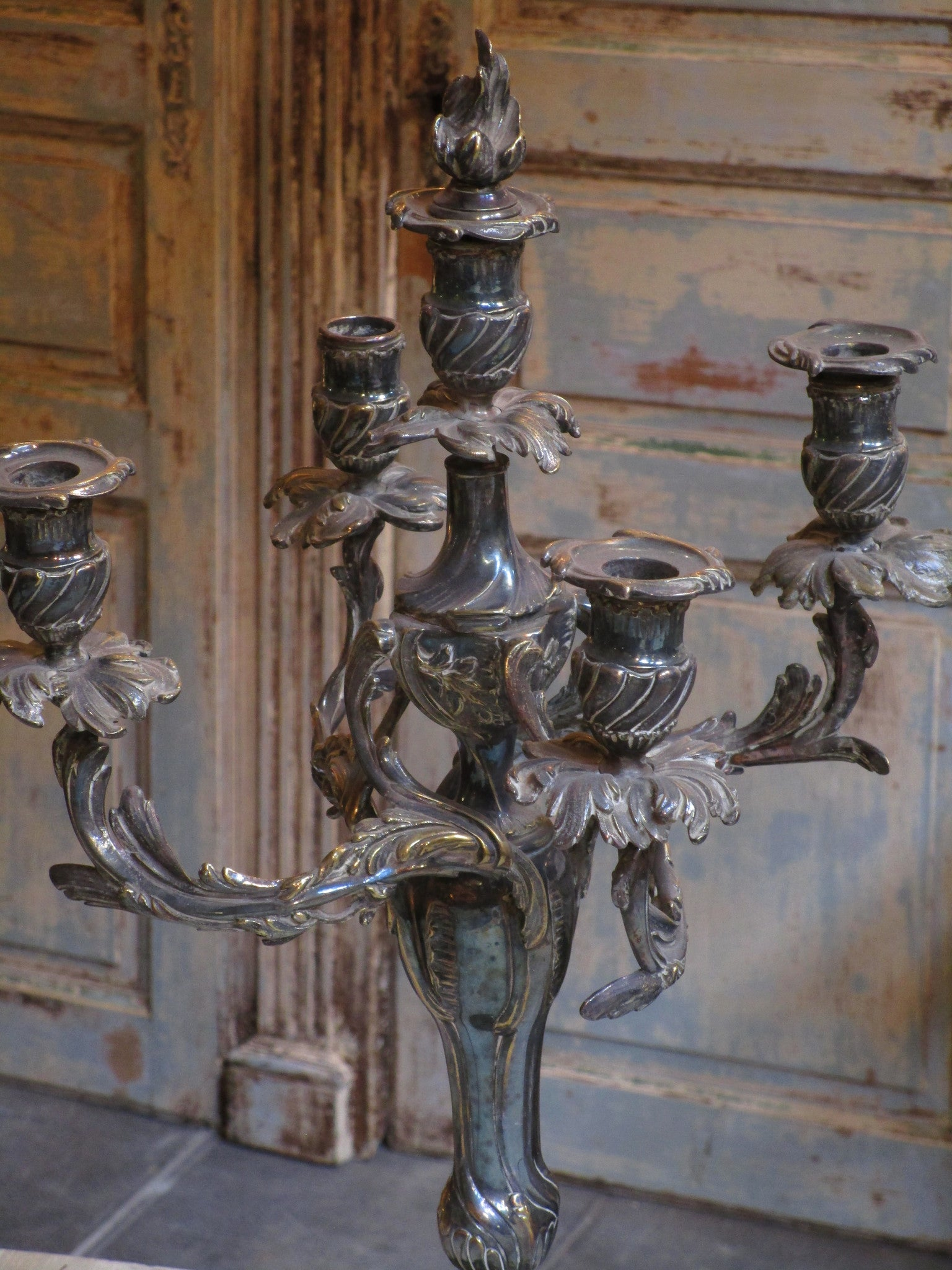 Pair of French bronze candelabras