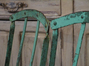 Pair of folding rustic bistro chairs