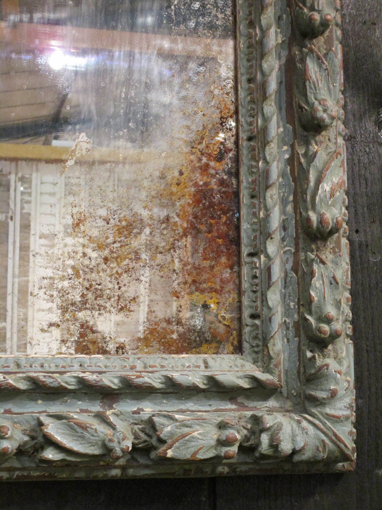 19th century oak mirror – pomegranate frame