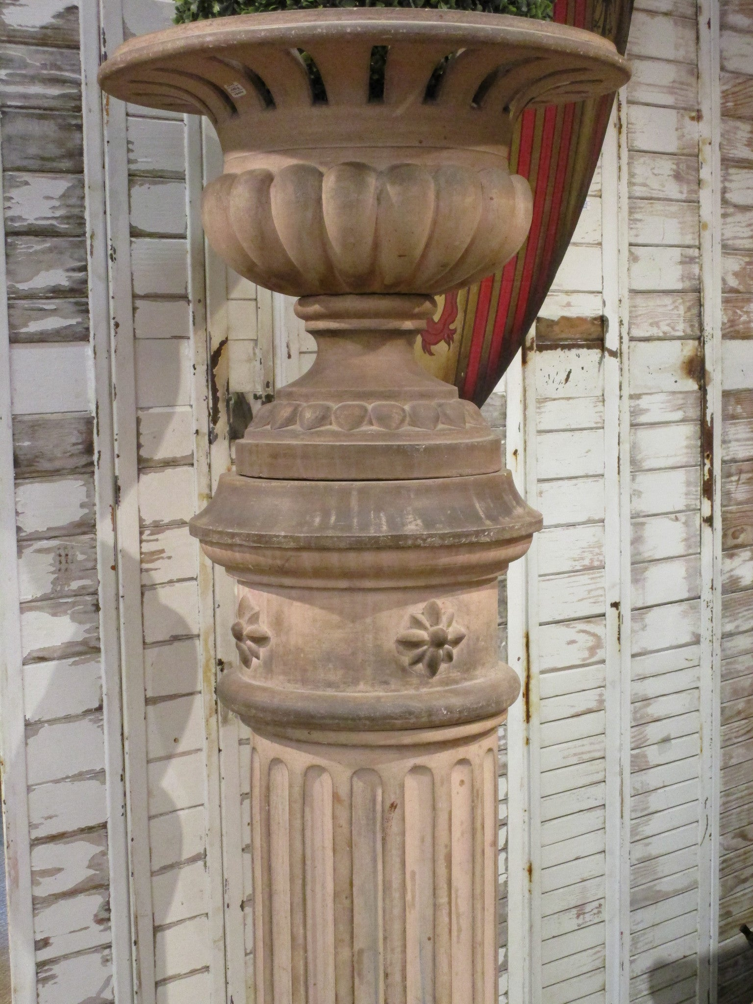 19th century terracotta Medici urn on column