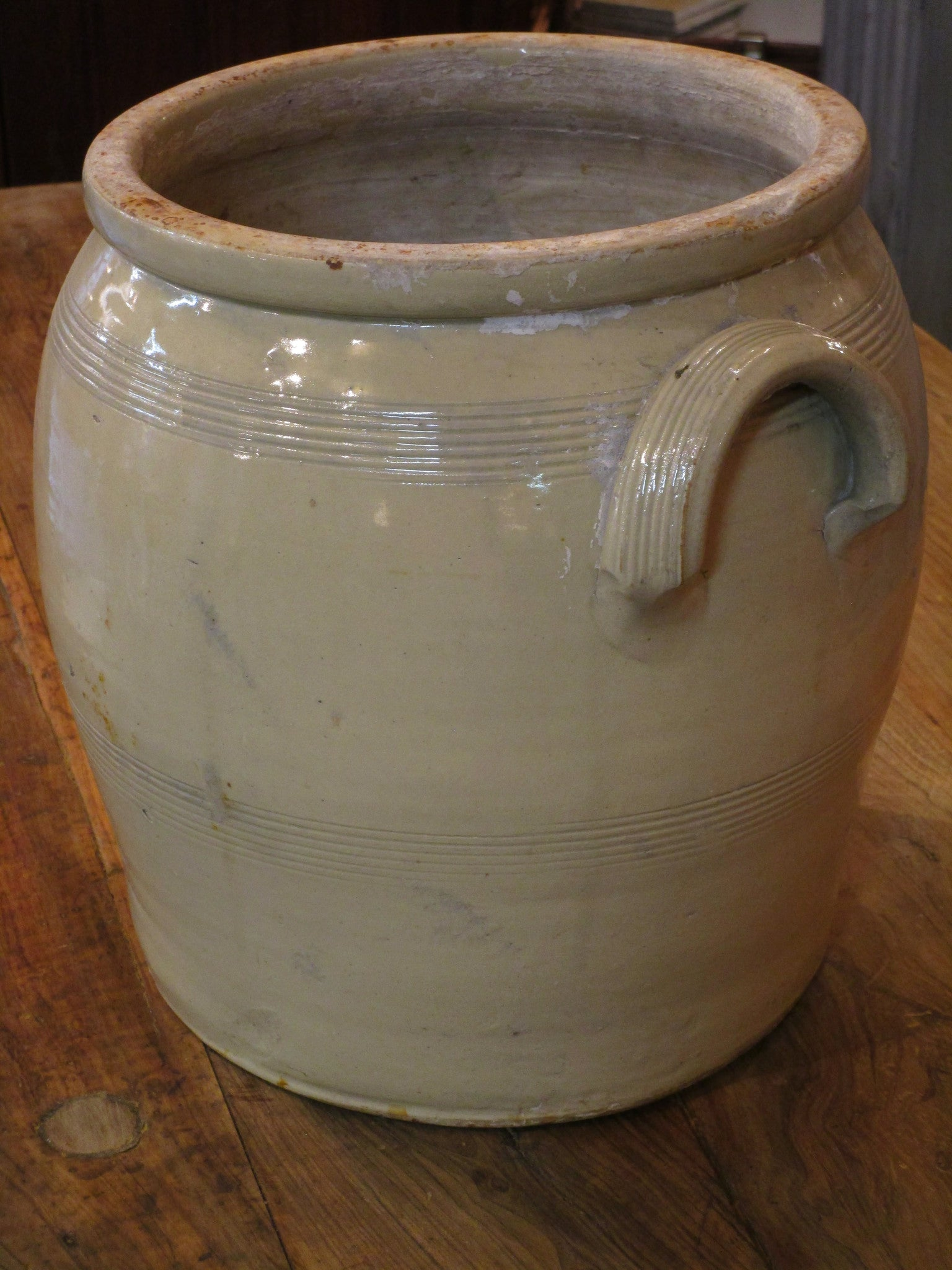 French stoneware pot with original lid