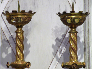 Pair of late 19th century church candlesticks
