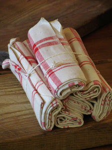 Set of six red checked tea towels