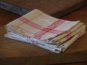 Set of six French checked tea towels