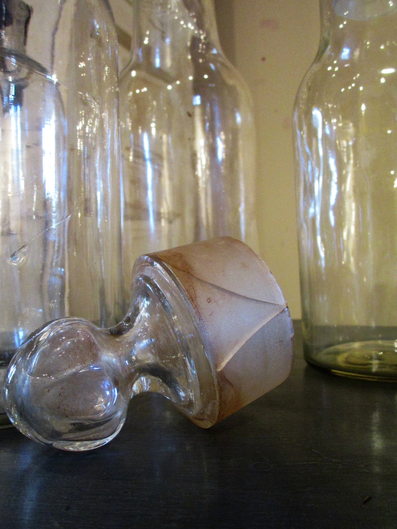 Set of four French glass apothecary jars