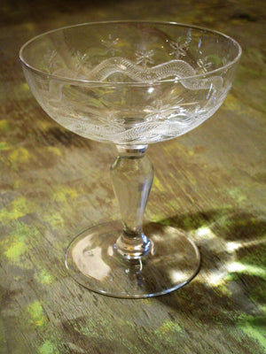 Set of six 19th century champagne glasses